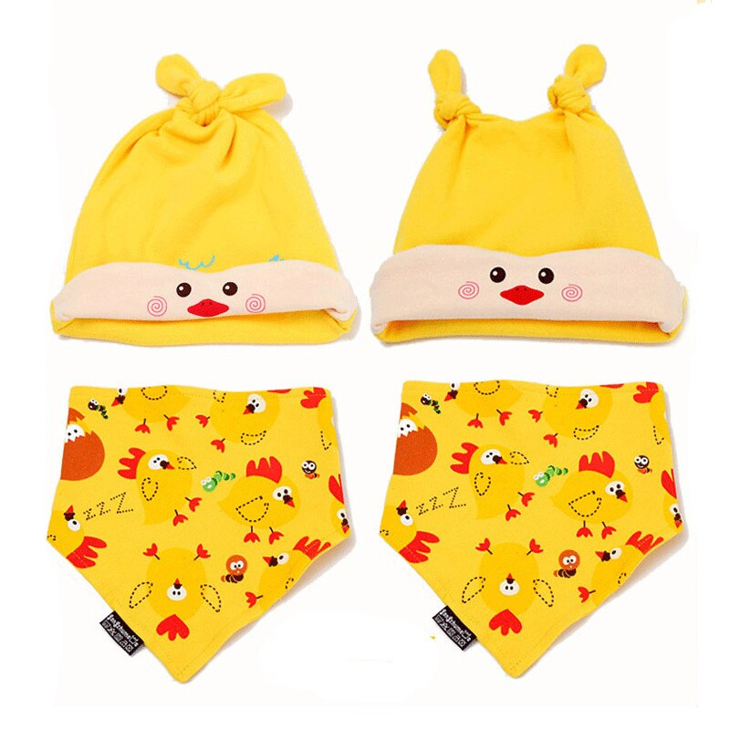 Baby Boy's Printed Cotton Hat and Bib