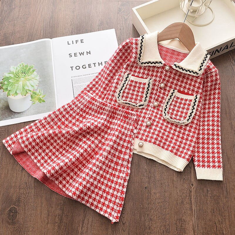 Girl's Warm Autumn Clothes Set with Skirt