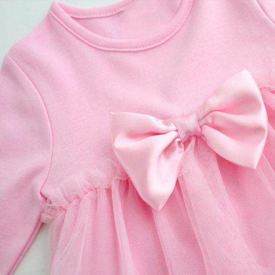 Cotton Long Sleeved Dress With Bows For Baby Girls