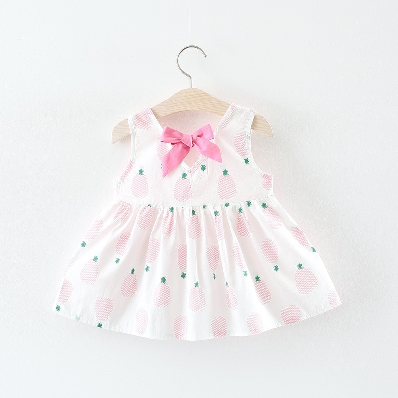 Baby Girl's Summer Dress with Pineapple Print