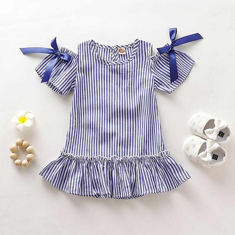 Summer Casual Baby Girls Striped Dress